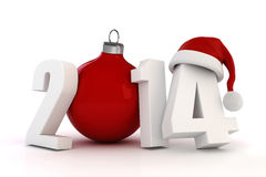 3d Happy New Year 2014. On white background Stock Photos