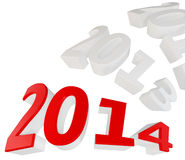 3d Happy New Year 2014. On white background royalty free illustration