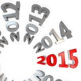 3d Happy New Year 2015. On white background Royalty Free Stock Photo