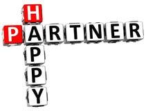 3D Happy Partner Crossword. On white background Stock Photos