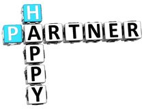 3D Happy Partner Crossword. On white background Royalty Free Stock Images