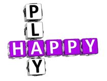 3D Happy Play Crossword. Over white background Royalty Free Stock Photography