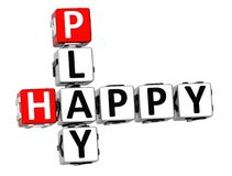 3D Happy Play Crossword. On white background Stock Photography