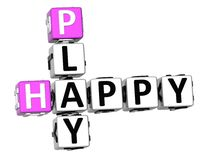 3D Happy Play Crossword. On white background vector illustration