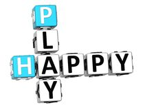 3D Happy Play Crossword. On white background stock illustration