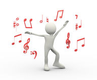 3d happy singing dancing person with musical notes Royalty Free Stock Photos