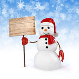 3d happy snowman holding a wooden board sign Stock Photos