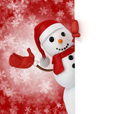 3d happy snowman holding a wooden board sign Royalty Free Stock Photography
