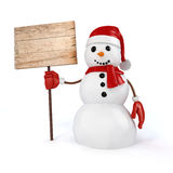 3d happy snowman holding a wooden board sign Royalty Free Stock Photo