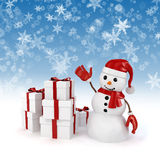 3d happy snowman and presents with snowflakes background Royalty Free Stock Images