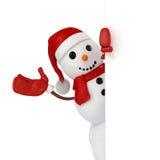 3d happy snowman with Santa hat Stock Photos