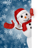 3d happy snowman with Santa hat Royalty Free Stock Photos