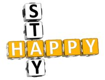 3D Happy Stay Crossword. Over white background Royalty Free Stock Photo