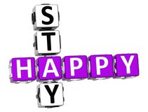3D Happy Stay Crossword. Over white background Stock Photo