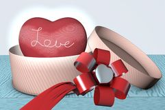 3d happy Valentine`s Day card with cloth heart and Love embroidery royalty free illustration