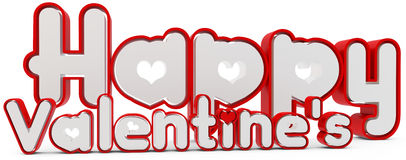 3d happy valentine's day. On white background Stock Photography