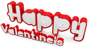 3d happy valentine's day. On white background Stock Photos