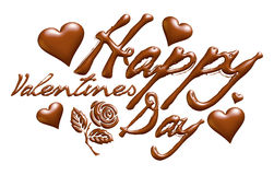 3D Happy Valentines Day in chocolate design. I did in 3D software Stock Photos