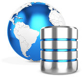 3d hard disk and database with earth globe Stock Images
