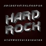 3D Hard rock alphabet font. Metal effect beveled letters and numbers. royalty free illustration