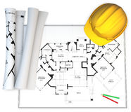 3d hardhat, generic blueprints and pencils Royalty Free Stock Photography