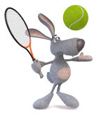3d hare tennis player. The rabbit with a tennis racket and a ball poses Stock Photos