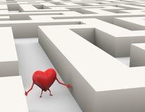 3d hart in labyrintillustratie die wordt verloren vector illustratie