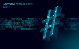3D hashtag symbol dark blue glowing low poly. Communication online social media share search posts. Information. Innovation web technology binary code flow stock illustration