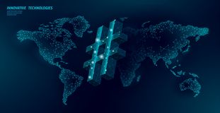 3D hashtag symbol dark blue glowing low poly. Communication online social media share search posts. Information. Innovation web technology global world map stock illustration
