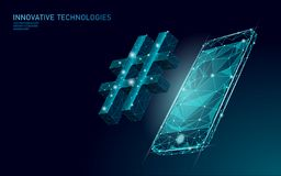 3D hashtag symbol dark blue glowing low poly. Communication online social media share search posts. Information. Innovation web technology smartphone vector vector illustration
