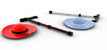 3d hat and old person's stick concept Royalty Free Stock Photography