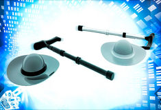3d hat and old person's stick illustration Stock Photo