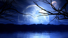 3D haunting background with moon, planet and tree silhouette Stock Photography