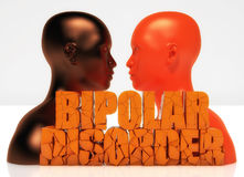 3d head and bipolar disorder text. Face to face head and bipolar disorder text Royalty Free Stock Image