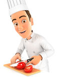 3d head chef cutting a tomato. Illustration with white background royalty free stock images