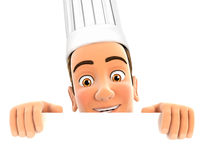 3d head chef hiding behind white wall Stock Images