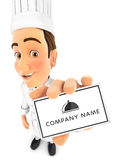 3d head chef holding company card Royalty Free Illustration