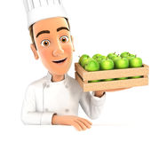 3d head chef holding wooden crate of apples. Illustration with isolated white background Royalty Free Stock Photos