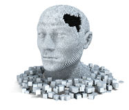 3D head consisting of cubes. 3D head with hole consisting of cubes Stock Photo