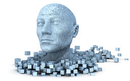 3D head consisting of cubes. On the white background Royalty Free Stock Photo