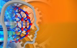 3d head contour. 3d illustration of molecular structure over orange background with gears Stock Photo