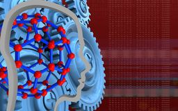 3d head contour. 3d illustration of molecular structure over red background with blue gears Stock Photo