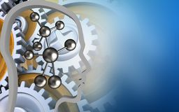 3d head contour. 3d illustration of molecule over blue background with gears Royalty Free Stock Photo