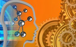 3d head contour. 3d illustration of molecule over orange background with gears system Stock Images