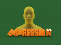 3d head and depression text. 3d head, depression text and green floor Royalty Free Stock Photos