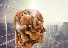 3d head gjort av kuggecityscape med skyskrapor Stock Illustrationer