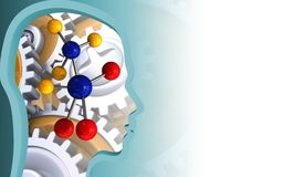 3d head profile. 3d illustration of molecule over white background with gears Stock Photo