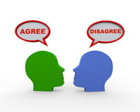 3d heads with agree disagree speech bubble Stock Photography