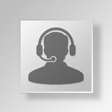 3D  Headset Button Icon Concept. 3D Symbol Gray Square Headset Button Icon Concept Royalty Free Stock Photography