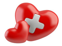 3d health care icon, white cross in red hearts Royalty Free Stock Photo